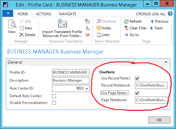 3 new Dynamics NAV Features - activate onenote edit profile card