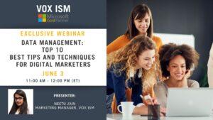 Data Management: Top 10 best Tips and Techniques for Digital Marketers - June 3 - Webinar VOX ISM
